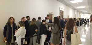 Line Outside Hearing Room